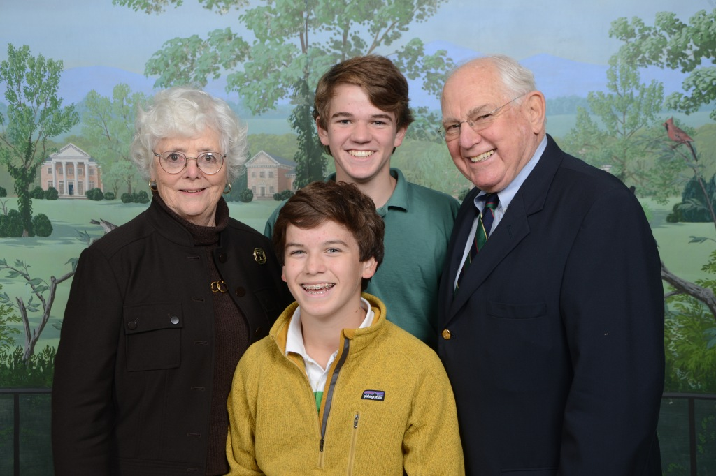 John '16 (back) and Scott '18 (front) Pittman with their grandparents on Grandparent's Day