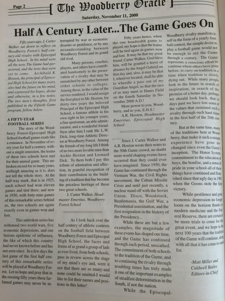 The original article published in the November 11, 2000 issue of The Oracle