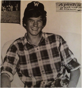 Vee Pittman '80 in traditional Woodberry apparel common amongst students at the time