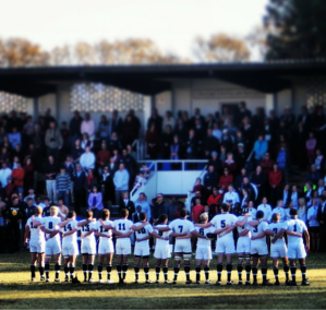 Hilton First Team Rugby singing the school song following a tight competition against Michaelhouse