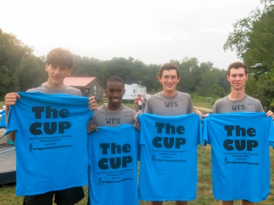 (left to right) William Rich '18, James Carrington '17, Parker Jacobs '17, and Robert Singleton '16 following the completion of the annual Ragged Mountain Run